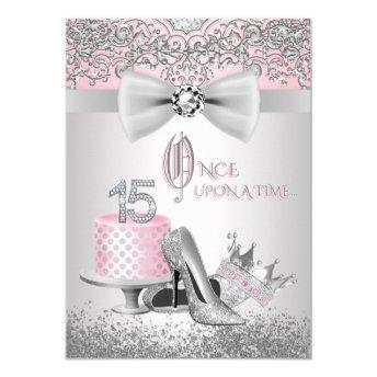 Pink Silver Quinceanera Princess Birthday Party Invitation