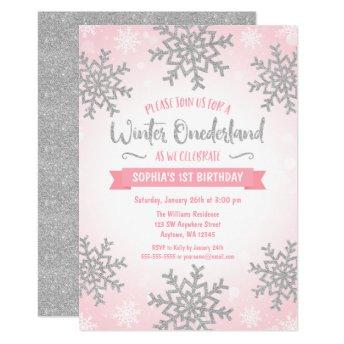 Pink Silver Winter ONEderland 1st Birthday Invite