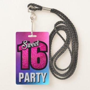 Pink Sweet 16 Birthday Party Invitation ID Invitation Badge