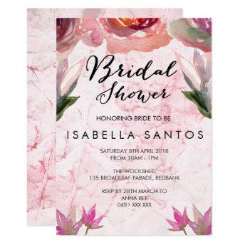 Pink Watercolor floral bridal shower invitation