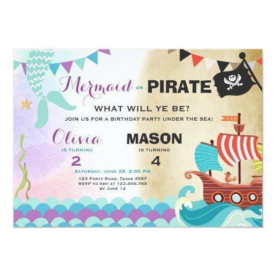 216 Pirate Or Mermaid Birthday Invitation Siblings