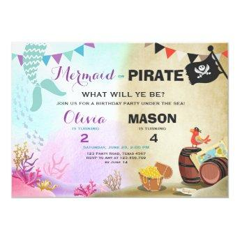 Pirate or Mermaid birthday invitation Siblings Joi