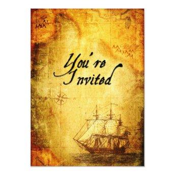 Pirates Party Invite on Antique Map