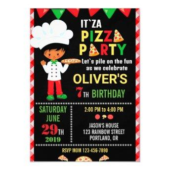 Pizza birthday invitation Little chef boy