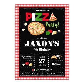Pizza Party Birthday Invitation Boys