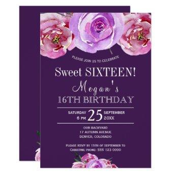 Plum violet pink peonies chic floral sweet sixteen