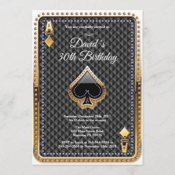 Poker Playing Invitation Casino Birthday Invitation