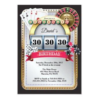 Poker Playing Invitation Casino Gold birthday invitation