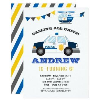 Police Birthday Invitation Chalkboard