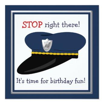 Police Hat Cop Theme Birthday Party Invitation