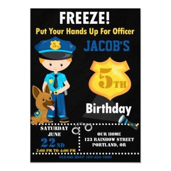 Police officer birthday invitation Boy cops party