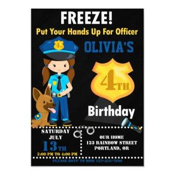 Police officer birthday invitation Police badge