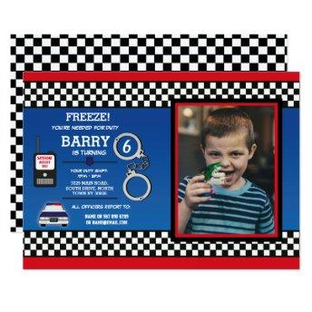 Police Officer Birthday Party Detective Photo Invitation