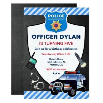 Police Officer Chalkboard Kids Birthday Party Invitation