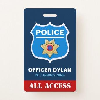 Police Officer Kids  ID  Badge