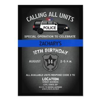 Police SUV Badge Thin Blue Line Birthday Magnetic Invitation