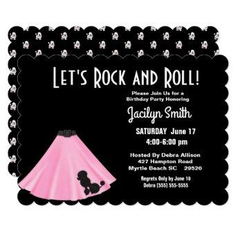 Poodle Skirt Birthday Party Invitation