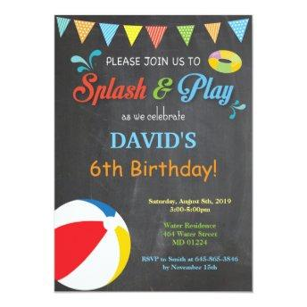 Pool Party Birthday Invitation Splish Splash Boy