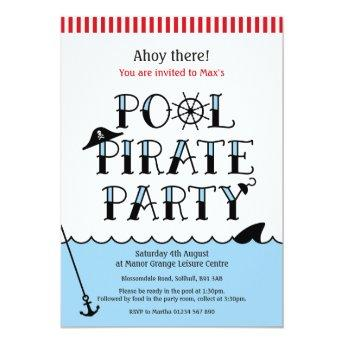 Pool Pirate Party Birthday Invite