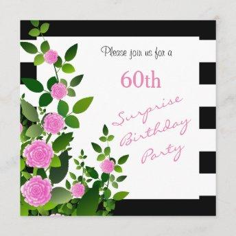 Pretty Black and White Stripes with Pink Roses Invitation