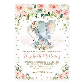 Pretty Blush Floral Elephant Girl Baby Shower Invitation