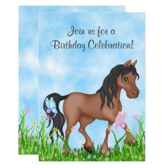 Pretty Brown Horse and Butterflies Birthday Invitation