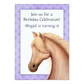 Pretty Palomino Horse Purple Birthday