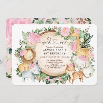 Pretty Pink Floral Safari Wild One 1st Birthday Invitation