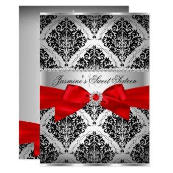 Pretty Red Black Damask Sweet 16 Invitation