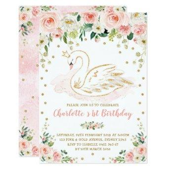 Pretty Swan / Blush Pink Gold Floral Girl Birthday Invitation