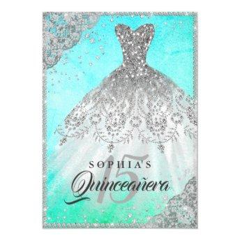 Pretty Teal Diamond Lace Sparkle Gown Quinceanera Invitation