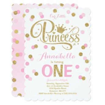 Princess 1st Birthday  Pink Gold Invite