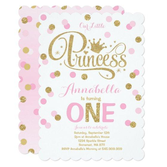 231 Princess 1st Birthday Invitation Pink Gold Invite
