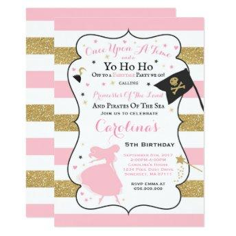 Princess And Pirate Birthday Invitation