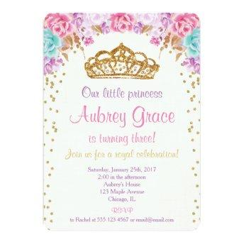 Princess birthday invitation, pink purple gold invitation