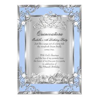 Princess Quinceanera 15th Birthday Blue Silver