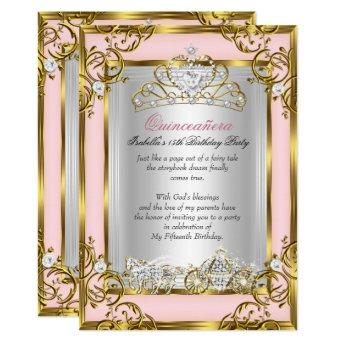 Princess Quinceanera 15th Birthday Pink Peach Invitation