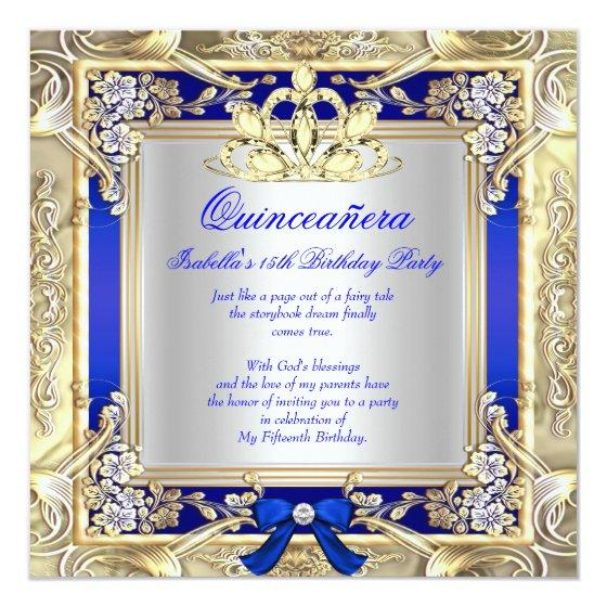 Princess Quinceanera Gold Royal Blue Silver 2 Invitation Birthday