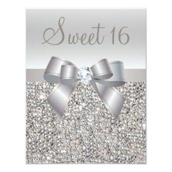 Printed Silver Sequins, Bow & Diamond Sweet 16