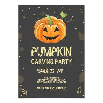 Pumpkin Carving Party Spooky Halloween Birthday Invitation