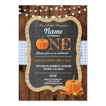 Pumpkin Fall First Birthday Party Boy Invite