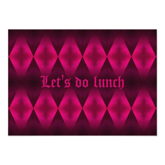 Punk Hot Pink Diamond Pattern Let S Do Lunch Party