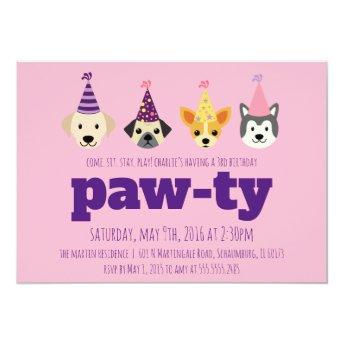 Puppy Birthday Party Invitation, Girls Dog Invite