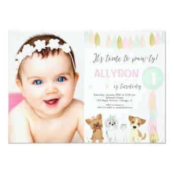 Puppy Dog birthday, Animal lovers Cute girl photo Invitation
