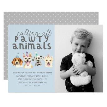 Puppy Dog Party Animals Birthday Photo Invitation