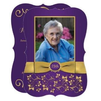 Purple and Gold 75th Photo Birthday Invitation
