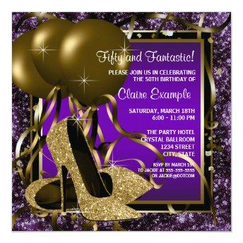 Purple and Gold High Heels Womans Birthday Party