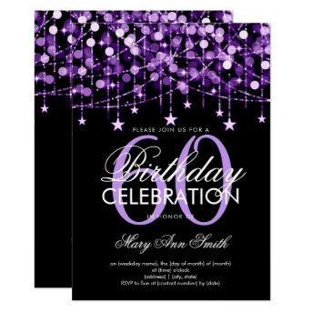 Purple Any Age Birthday String Lights & Stars Invitation