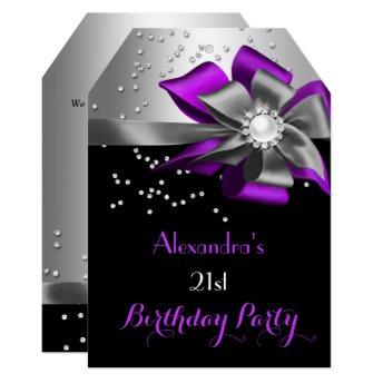 Purple Black Silver Bow Pearl Birthday Party