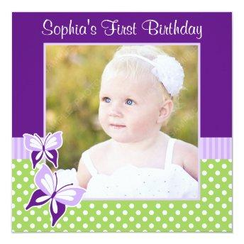 Purple Butterfly Green Polka Dot Birthday Photo